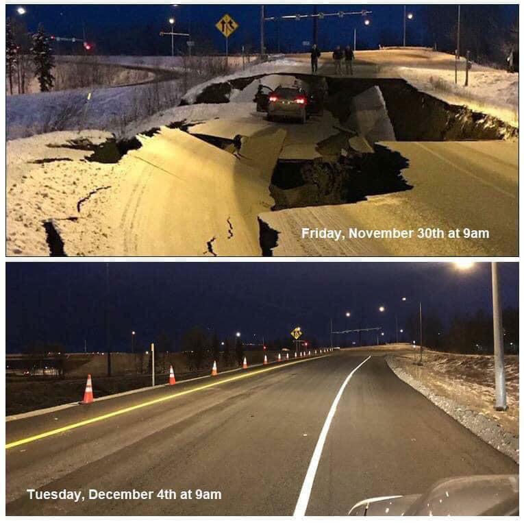 Alaska Earthquake recovery time