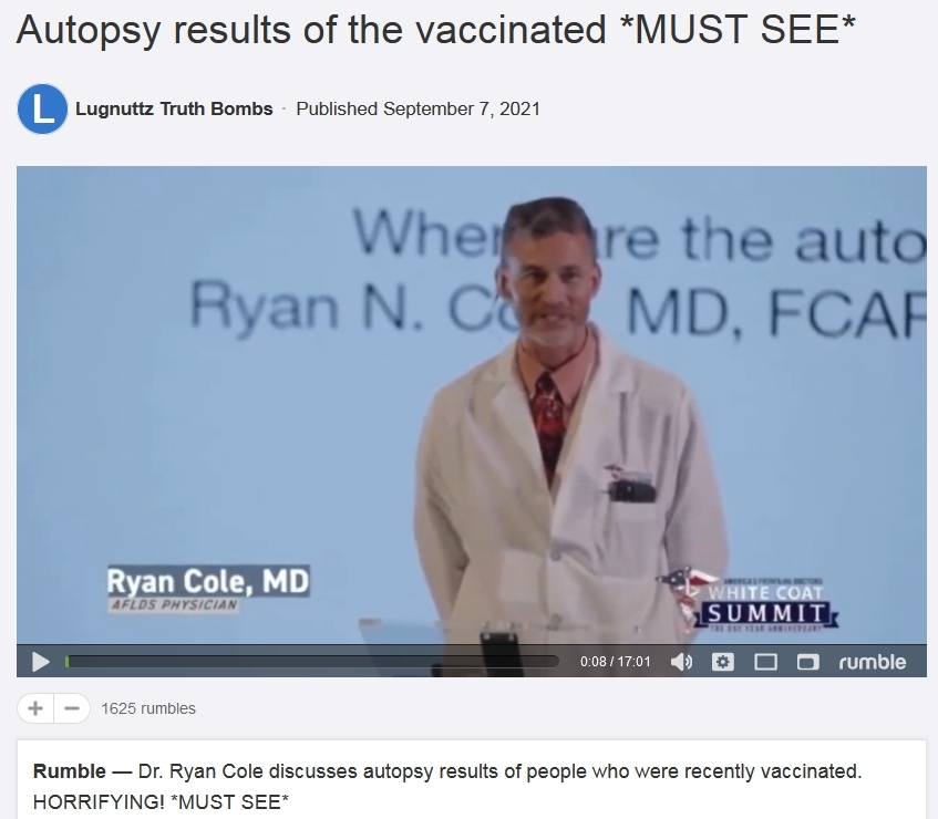 Dr. Ryan M Cole MD autopsy results from Covid vaccine deaths