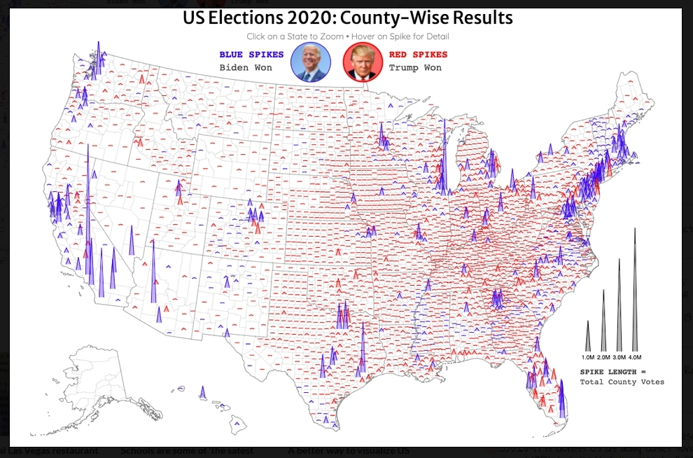 US Election 2020 vote spike graphic