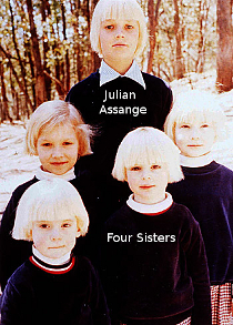 Julian Assange and four sisters