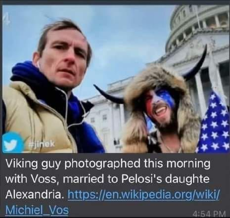 Pelosi's son in law with Viking guy 1-6-2021
